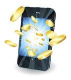 Goldmünzen, die aus intelligentem Handy heraus fliegen Stockfotografie