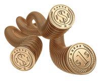 Goldmünzen eins nach dem anderen Das Geldkonzept des Bargeldumlaufs Stockbilder