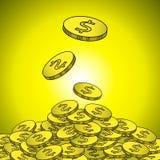 Goldmünzen mit Dollarzeichenillustration Stockfotos