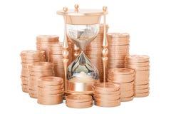 Goldmünzen mit Sanduhr, Wiedergabe 3D Stockfotografie