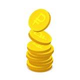 Goldmünzen mit Zeichen des russischen Rubels stock abbildung