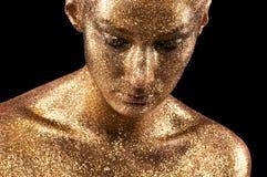 Goldmake-up lizenzfreie stockbilder