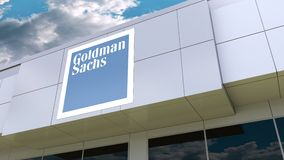The Goldman Sachs Group, Inc. logo on the modern building facade. Editorial 3D rendering. The Goldman Sachs Group, Inc. logo on the modern building facade stock footage