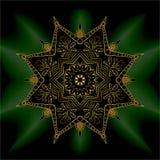 Goldmandalabeschwörungsformel OM Dekoratives Vektorelement des indischen Musters vektor abbildung