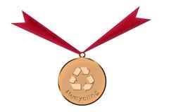 Goldmedaille der Wiederverwertung Stockbild