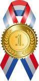 Goldmedaille mit Farbband Stockbild