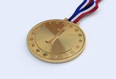 Goldmedaille mit Zahl Lizenzfreie Stockfotografie