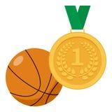 Goldmedaille und Basketball-Ball-flache Ikone Lizenzfreie Stockfotos