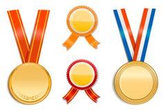 Goldmedaillen und -abzeichen Stockfoto