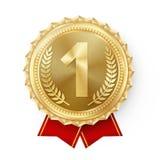 Goldmedaillen-Vektor Goldener 1. Platz-Ausweis Sport-Spiel-goldener Herausforderungs-Preis Rotes Farbband Getrennt Olive Branch lizenzfreie abbildung