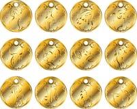 Goldmedaillons des Tierkreises. Lizenzfreie Stockfotos