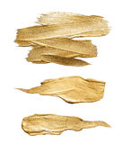 Goldmessingaquarellbeschaffenheitsfarbenfleckzusammenfassungs-Illustrationssatz Glänzender Bürstenanschlag für Sie erstaunliche P Stockfotos
