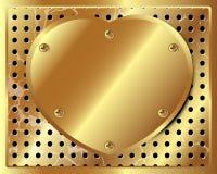 Goldmetallherz auf dem Hintergrund des perforierten Metalls Stockfoto