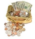 Goldmetallischer Münzen-Geldbeutel mit Bargeld und Münzen Stockfotos