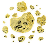 Goldnuggets auf weißem Hintergrund vektor abbildung