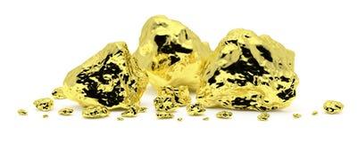 Goldnuggets lokalisiert auf weißem Hintergrund lizenzfreie abbildung