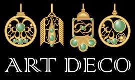 Goldohrringe mit grünem Edelstein Satz des antiken Goldjuwels in der Art- DecoArt Nostalgische Weinlesemuster Metallischer Messin vektor abbildung