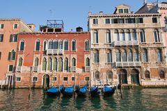 Goldola parking in Venice Stock Images