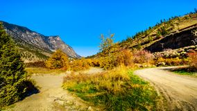Goldpan Provincial Park in BC Canada. Fall colors surrounding the Thompson River at Goldpan Provincial Park on the Fraser Canyon route of the Trans Canada royalty free stock image