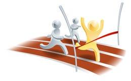 Goldperson, die das Rennen gewinnt Lizenzfreie Stockfotos
