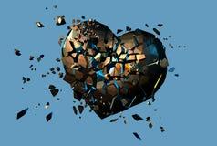 Goldpolygonales defektes Herz auf blauem Hintergrund Stockfotografie