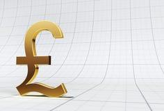 Goldpound-Symbol auf Rasterfeld Lizenzfreies Stockfoto