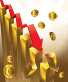 Goldpreistafel-Fallen Stockfotos
