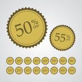 Goldprozentsatz weg von den Aufklebern Lizenzfreies Stockfoto