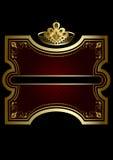 Goldrahmen mit glänzendem Burgunder-Hintergrund mit einer Goldkrone Lizenzfreie Stockfotos