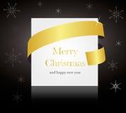 Goldribbon rond Kerstmis of huwelijkskaart Stock Foto