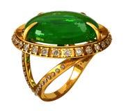 Goldring mit Smaragd Stockfotos
