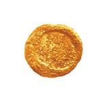 Goldrunder Stellenaquarell-Bürstenanschlag lokalisiert auf weißem Hintergrundvektorelement für Design Stockbilder