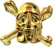 Goldschädel-und -kreuz-Knochen Stockbilder