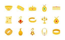 Goldschatz-flache Ikonen Stock Abbildung