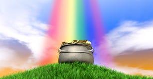 Goldschatz und Regenbogen auf grasartigem Hügel Stockfotos