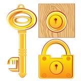 Goldschlüssel und -verschluß Stockfoto