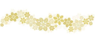 Goldschneeflocken-Grenze auf Weiß, Vektorillustration auf Lager stock abbildung