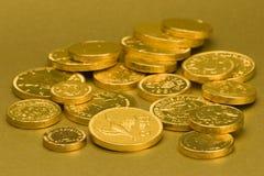 Goldschokoladen-Münzen Stockfotografie
