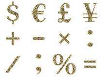 Goldschrifttyp - Symbolset Stockfoto