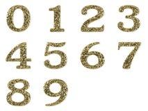 Goldschrifttyp - Zahlen eingestellt Lizenzfreie Stockfotos