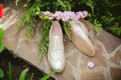 Goldschuhe, italienische Schuhe, Fotos annoncierend Stockbild