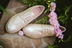 Goldschuhe, italienische Schuhe, Fotos annoncierend, Lizenzfreie Stockfotografie