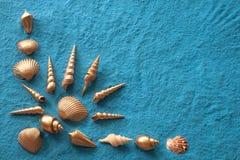 Goldshells auf blauem Sand Lizenzfreies Stockbild