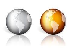 Goldsilberne Weltkugel vektor abbildung