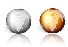 Goldsilberne Weltkugel stock abbildung