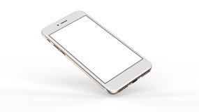 Goldsmartphones mit leerem Bildschirm Stockfoto