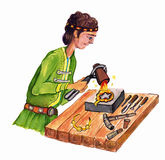 Goldsmith - hand drawn color illustration, part of medieval series set Royalty Free Stock Photos