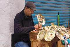 Goldsmith in Street in Tunis, Tunisia stock photos