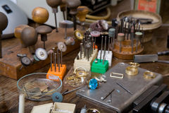 Goldsmith tools. And rings on the goldsmith workplace, desktop Stock Photos