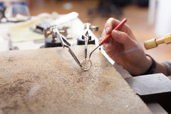 Goldsmith at work Royalty Free Stock Images